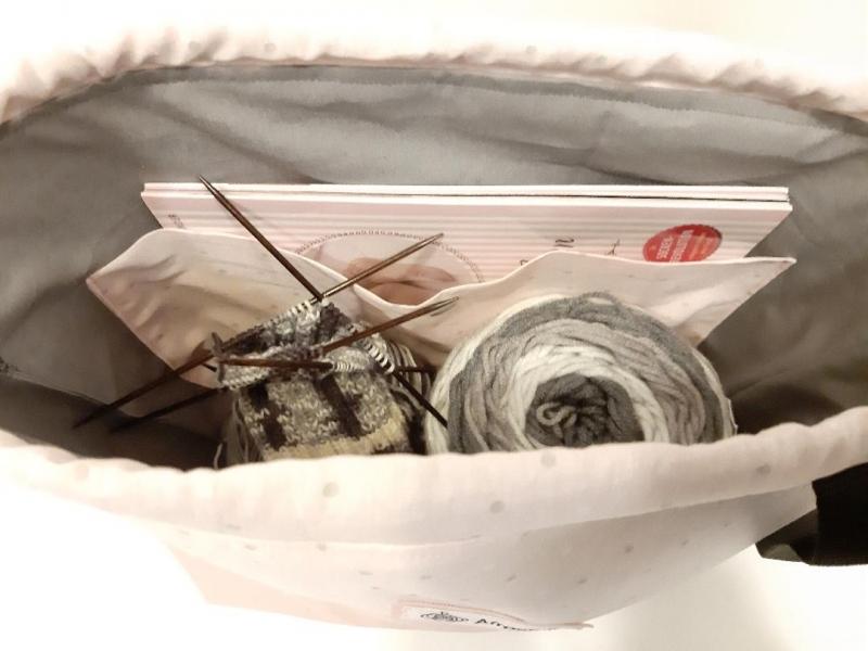 Kleinesbild - Handarbeitstasche mit Kunstleder, Projekttasche, Strandtasche, Strickbeutel, Wolltasche