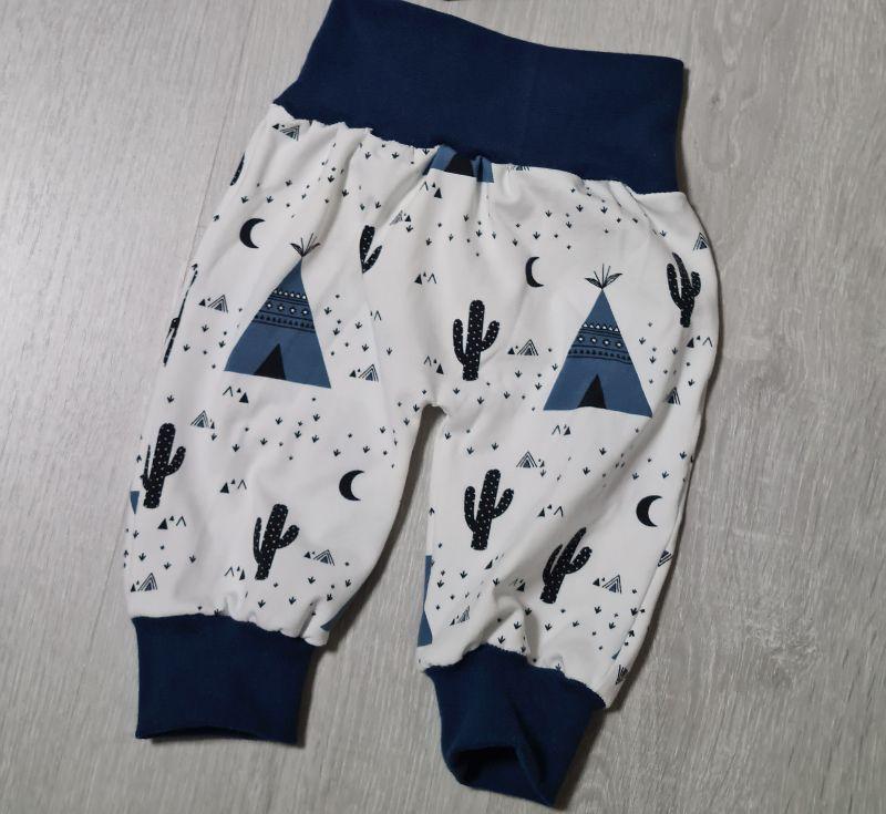 - Babyhose / Pumphose in der Farbe dunkelblau und Muster (Zelt, Kaktus) ♡ - Babyhose / Pumphose in der Farbe dunkelblau und Muster (Zelt, Kaktus) ♡