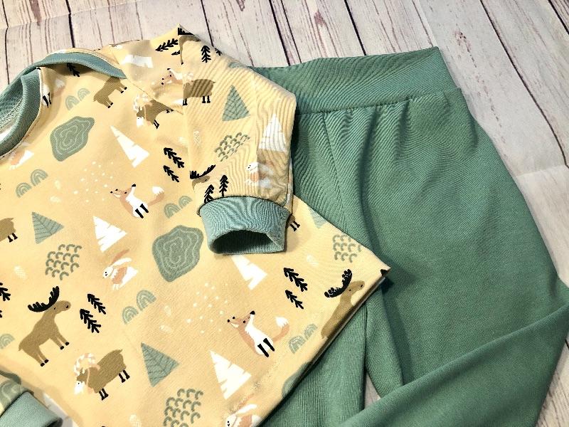Kleinesbild - Set Babyhose und Langarmshirt Gr. 80, Waldtiere, Pumphose Baby Pullover handmade