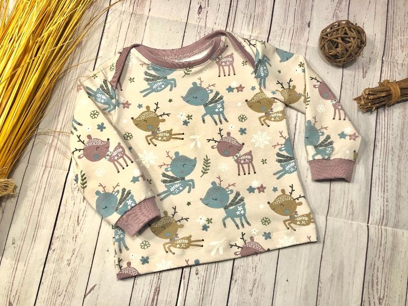 Kleinesbild - Set Baby Pumphose und Pullover Gr. 74 Bio-Jersey Winterreh altrosa, handmade, Babyhose und Langarmshirt Mädchen