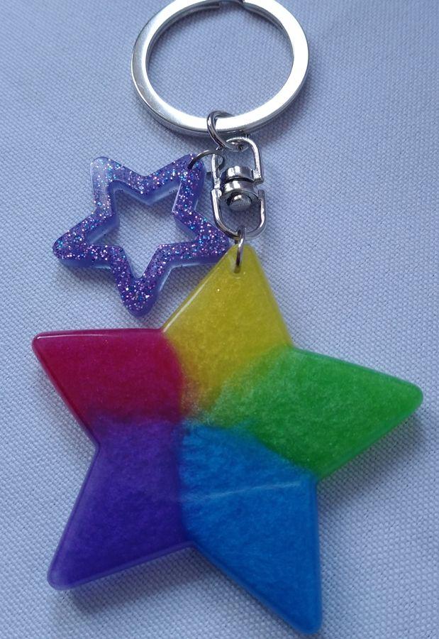 Kleinesbild - Farbenfroher Sternanhänger für Schlüssel und Tasche