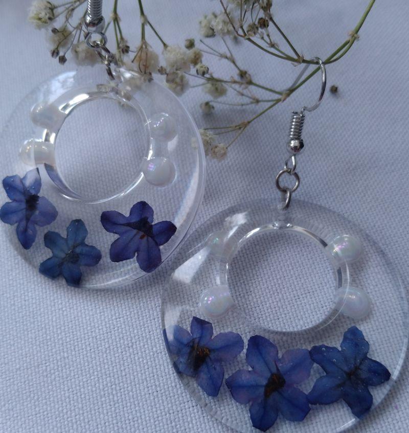 - große transparente Ohrhänger mit echten Blüten  - große transparente Ohrhänger mit echten Blüten