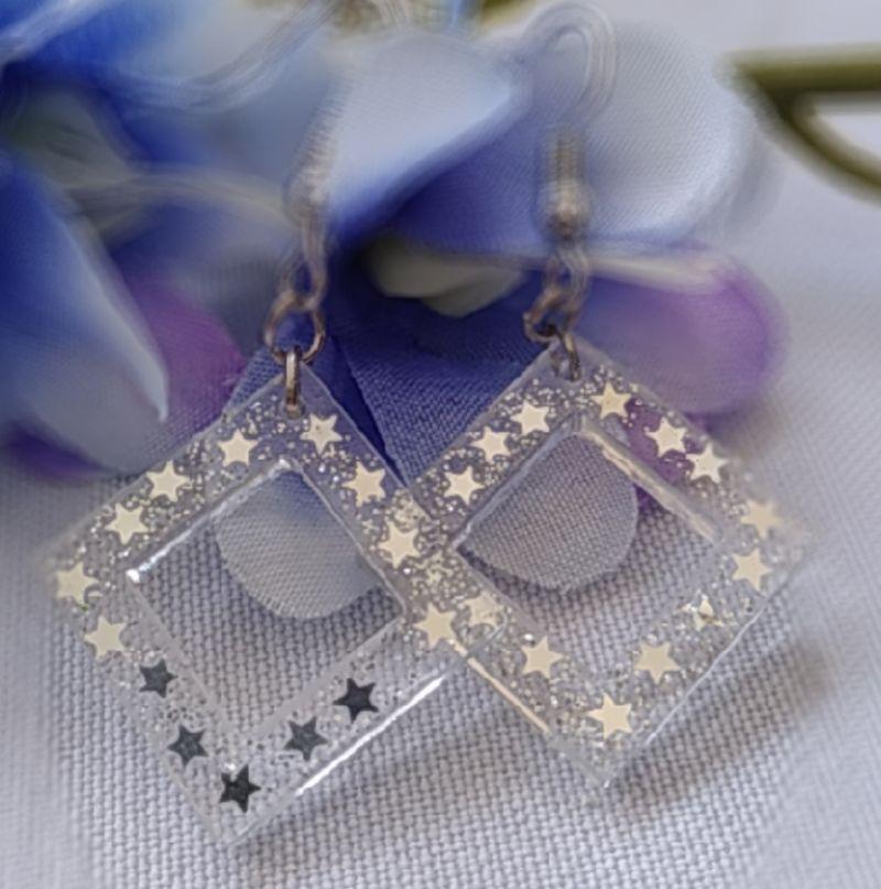Kleinesbild - transparente Ohrhänger mit silbernen Sternchen