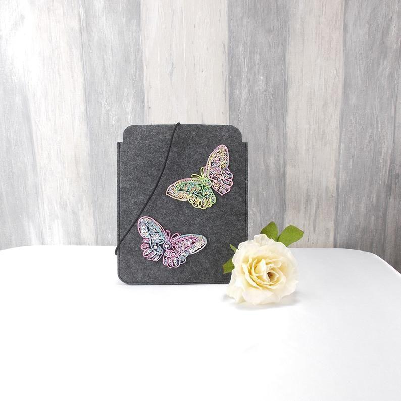 - Tasche für E-Reader oder Tablett, Filz, Storage bag, mittelgrau, mit Schmetterlinge  - Tasche für E-Reader oder Tablett, Filz, Storage bag, mittelgrau, mit Schmetterlinge