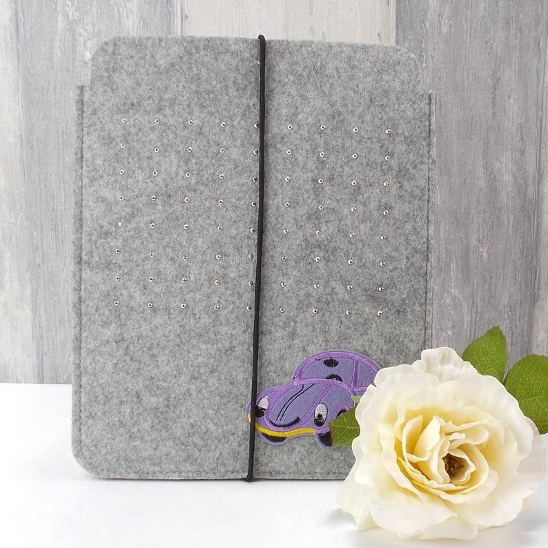 Kleinesbild - Tasche für E-Reader oder Tablett, Filz, Storage bag, hellgrau, mit Auto