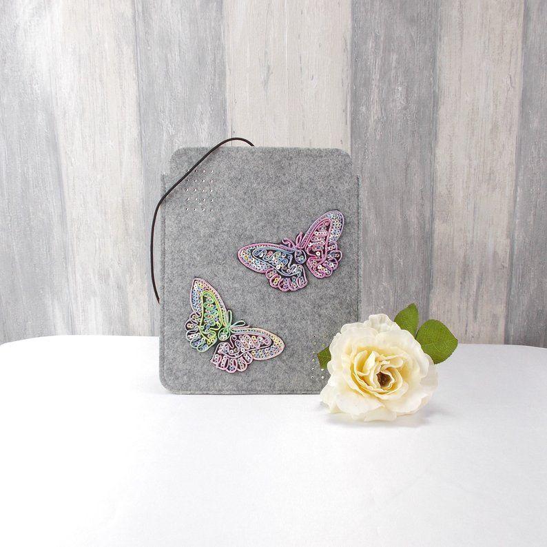 - Tasche für E-Reader oder Tablett, Filz, Storage bag, hellgrau, mit Schmetterlinge   - Tasche für E-Reader oder Tablett, Filz, Storage bag, hellgrau, mit Schmetterlinge