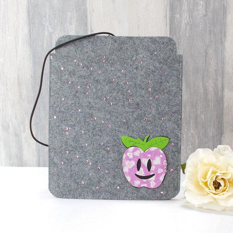 Kleinesbild - Tasche für E-Reader oder Tablett, Filz, Storage bag, hellgrau, mit Apfel