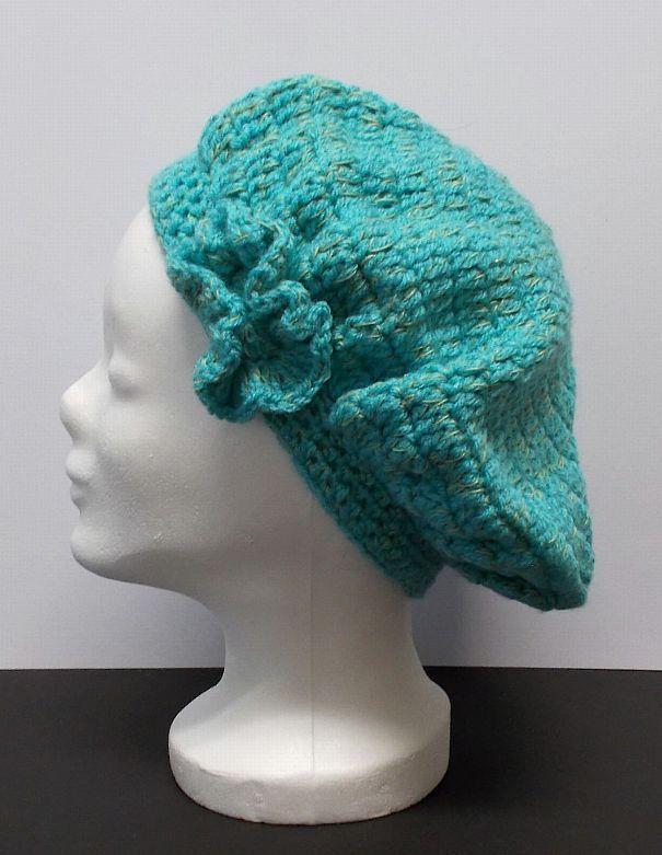 Kleinesbild - Baskenmütze, Mütze, türkisblau, Damenmütze, Mütze gehäkelt, Strickmütze, Mützen