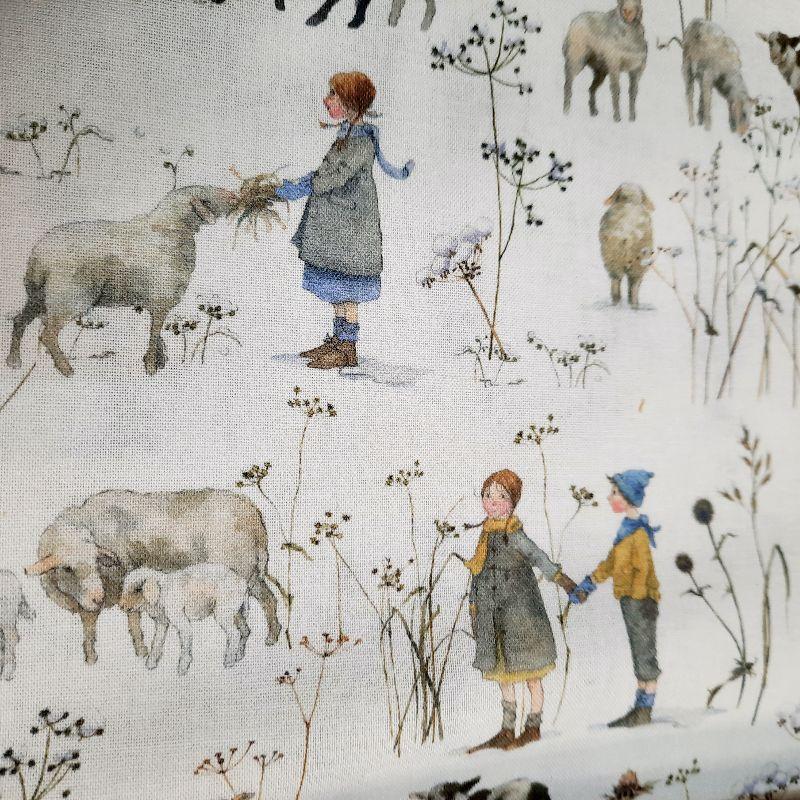 -   ☆ Bedruckter Baumwollstoff  :Winterkinder und Schafe :    Meterware  -   ☆ Bedruckter Baumwollstoff  :Winterkinder und Schafe :    Meterware