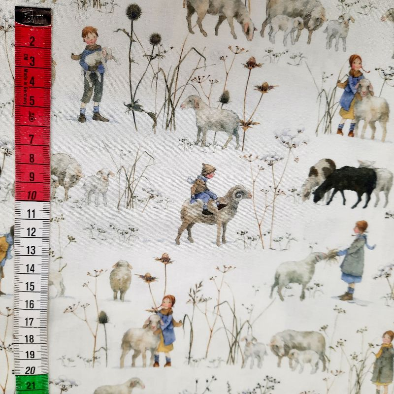 Kleinesbild -   ☆ Bedruckter Baumwollstoff  :Winterkinder und Schafe :    Meterware