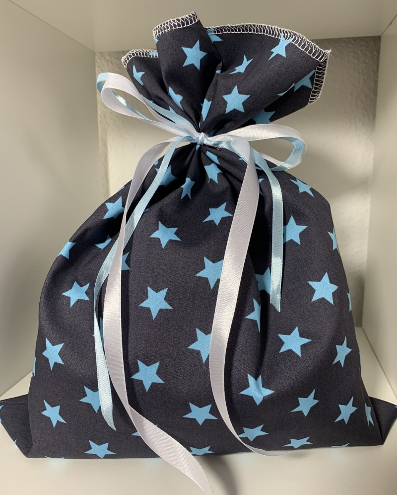Kleinesbild - Adventskalender-Säckchen Sterne(Blau) ★24 Selbst befüllbare Stoffbeutel★