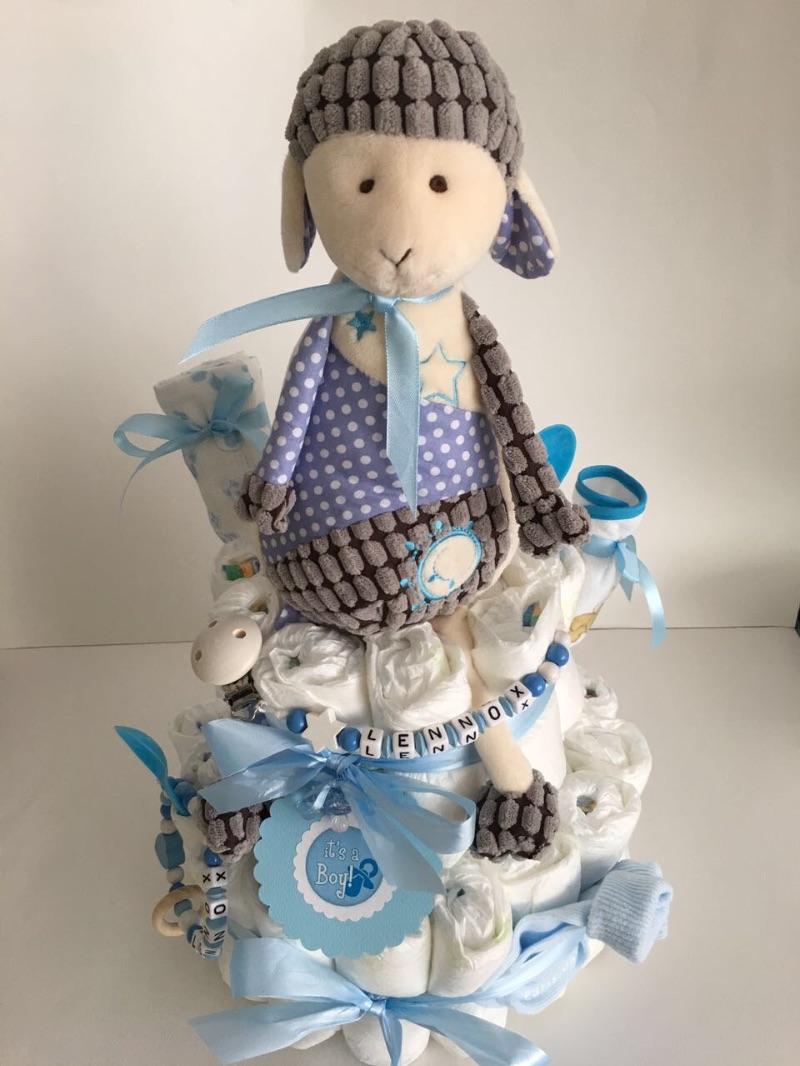 Kleinesbild - Windeltorte Baby Boy Girl Mädchen Junge  Bär Teddy Katze rosa blau Hund personalisiert mit Name Geschenk Taufe Geburt Babyparty  (Kopie id: 100261904) (Kopie id: 100261916)