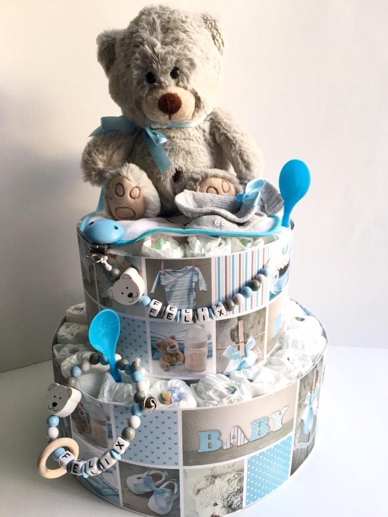 Kleinesbild - Windeltorte Baby Boy Girl Mädchen Junge  Bär Teddy Katze rosa blau Hund personalisiert mit Name Geschenk Taufe Geburt Babyparty  (Kopie id: 100261904) (Kopie id: 100261916) (Kopie
