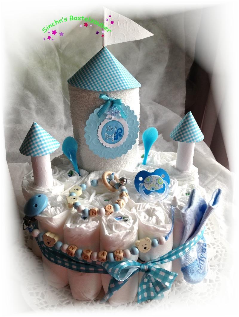 Kleinesbild - Windeltorte  Schloss Windelschloss Baby Boy Girl Mädchen Junge  Bär Teddy Katze rosa blau Hund personalisiert mit Name Geschenk Taufe Geburt Babyparty  (Kopie id: 100261904) (Kopie