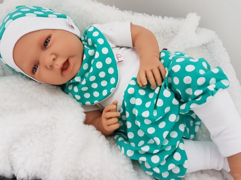 - Baby-Set Pumphose Mütze Halstuch Mint Dots - Baby-Set Pumphose Mütze Halstuch Mint Dots