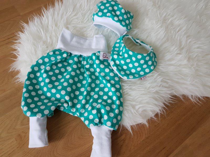 Kleinesbild - Baby-Set Pumphose Mütze Halstuch Mint Dots
