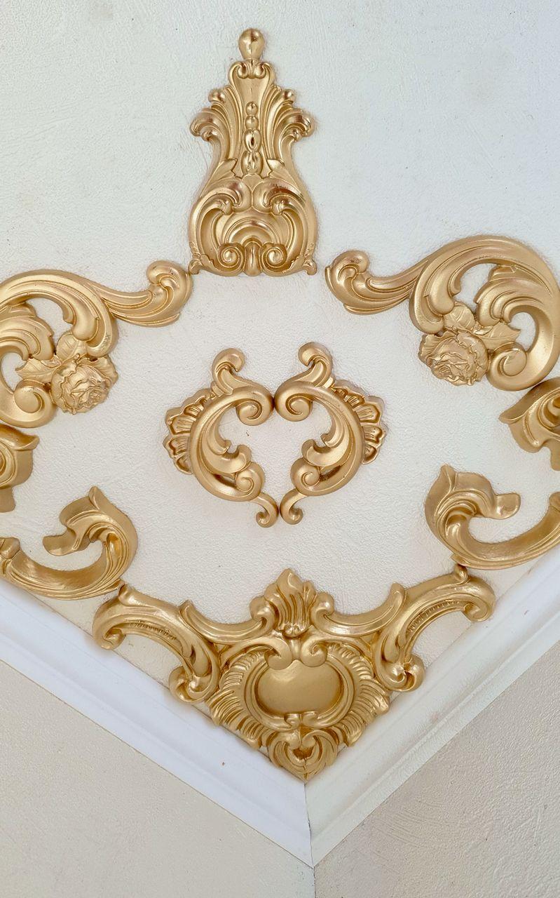 Kleinesbild - Traumhafte Stuck Ecke für die Decke in weiß, gold, silber.. Variante 20