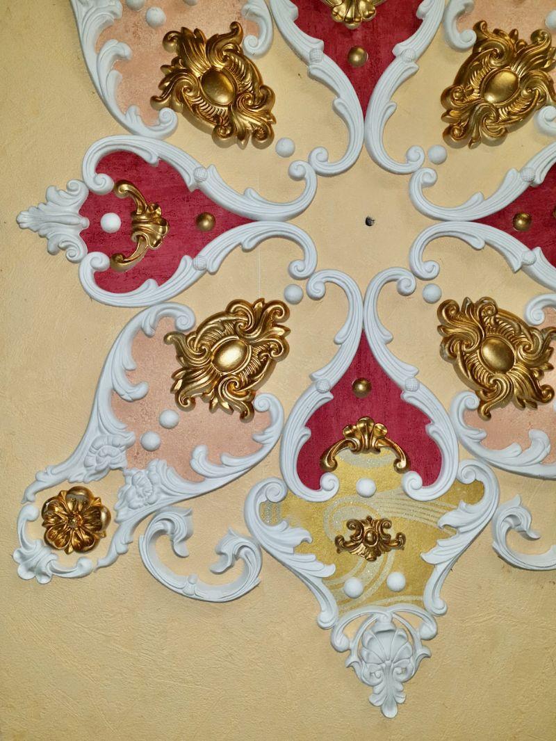 Kleinesbild - Gips Stuck Deckenspiegel, Rosette in weiß, gold, silber.. Variante B1