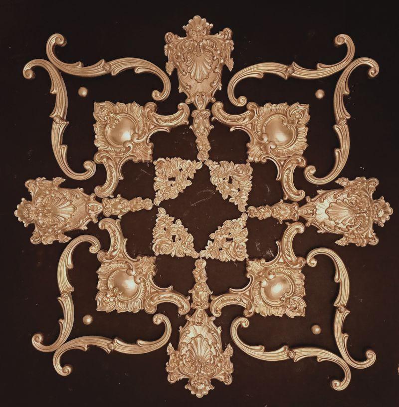 Kleinesbild - Gips Stuck Deckenspiegel, Rosette in weiß, gold, silber.. Variante D32