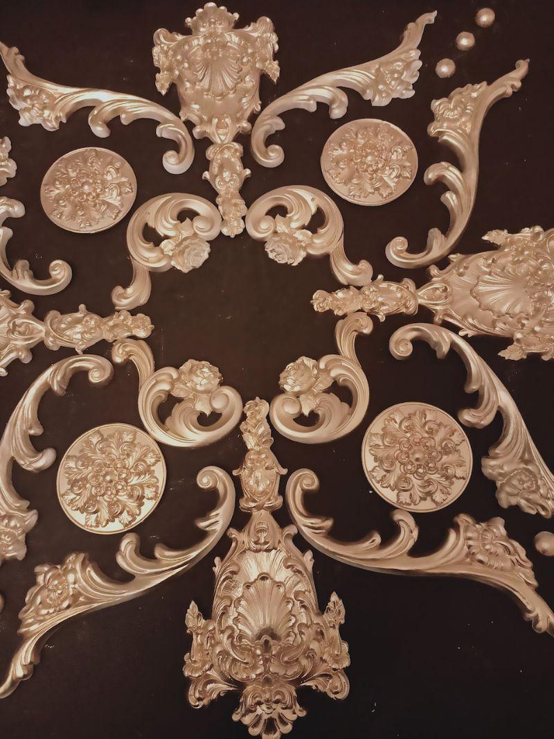 Kleinesbild - Gips Stuck Deckenspiegel, Rosette in weiß, gold, silber.. Variante D35