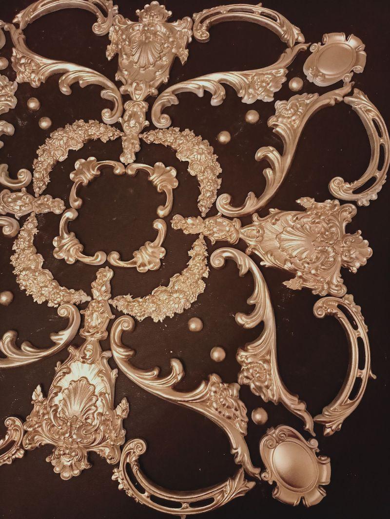 Kleinesbild - Gips Stuck Deckenspiegel, Rosette in weiß, gold, silber.. Variante D38