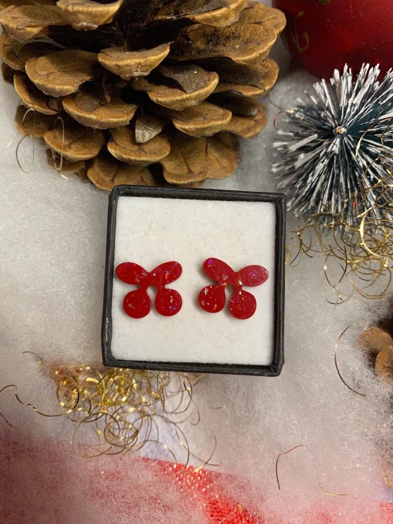 Kleinesbild - Ohrstecker aus epoxidharz Kirschen weiß rot Glitzer