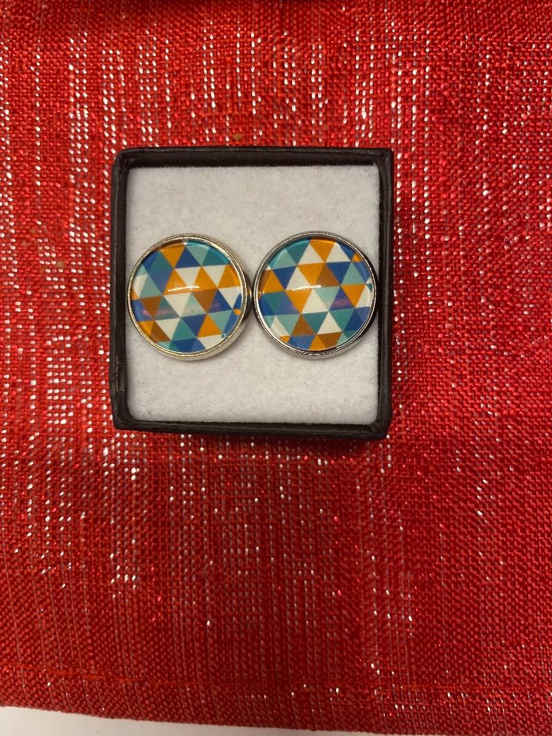 - Edelstahl Ohrstecker handmade Dreiecke 16mm cabochon  - Edelstahl Ohrstecker handmade Dreiecke 16mm cabochon