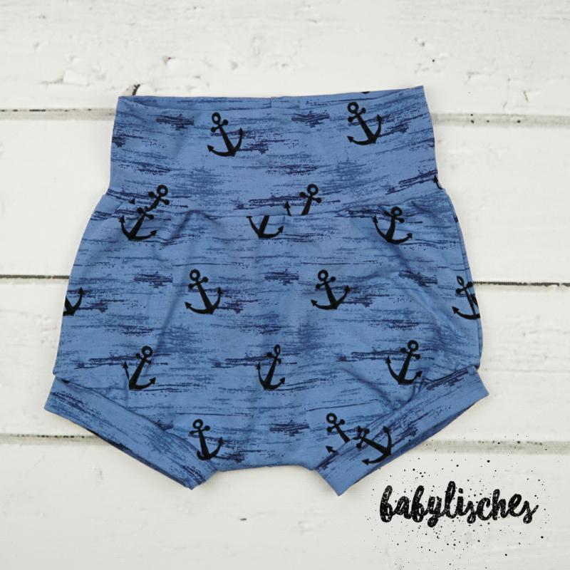 - Bummie / Shorts komplett aus Jersey Gr. 98 Blue Anker   Öko Tex Standard - Bummie / Shorts komplett aus Jersey Gr. 98 Blue Anker   Öko Tex Standard