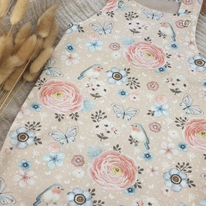 Kleinesbild - Baby Latzhose aus Jersey -Birds and Flowers- Gr.68
