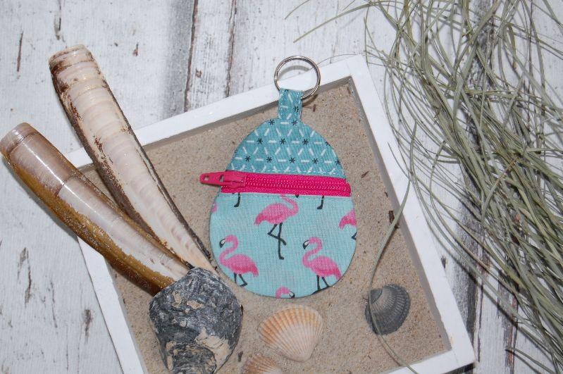 """- Schlüsselanhänger """"Flamingos"""", mit Reißverschlussfach für Einkaufchips, Münzen und Co - Schlüsselanhänger """"Flamingos"""", mit Reißverschlussfach für Einkaufchips, Münzen und Co"""