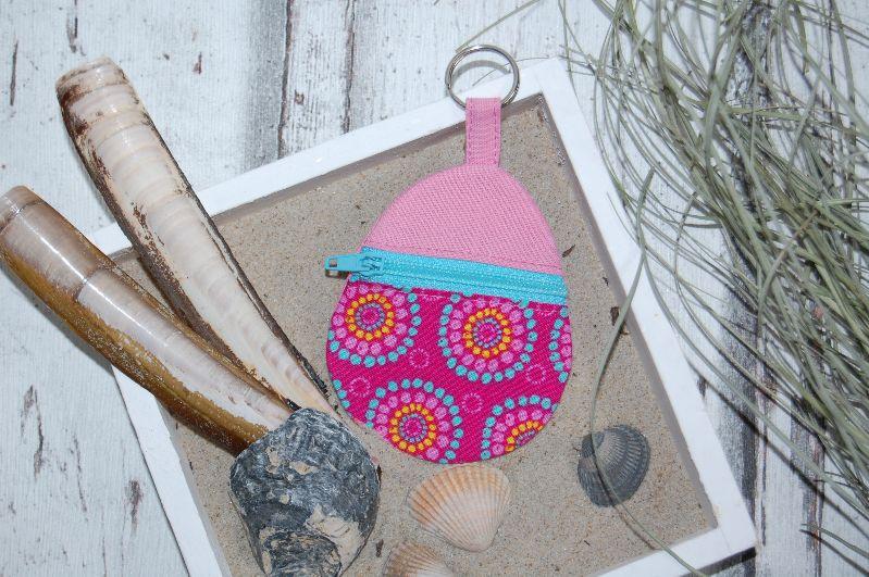 """- Schlüsselanhänger """"Kreise, pink"""", mit Reißverschlussfach für Einkaufchips, Münzen und Co - Schlüsselanhänger """"Kreise, pink"""", mit Reißverschlussfach für Einkaufchips, Münzen und Co"""