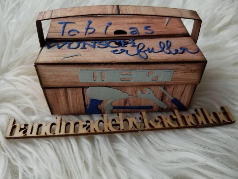 Kleinesbild - Werkzeugkasten Werkzeugkoffer Gutscheinverpackung Männergeschenk