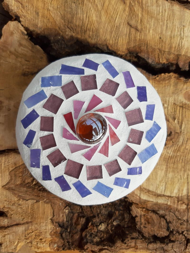 Kleinesbild - Mosaik Linse lila rosé 10 cm Glas schwimmt Teich Tiffany Blumenmosaik Glasmosaik