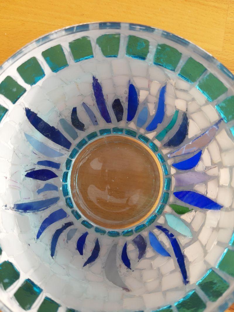 Kleinesbild - türkis blaue Vase Windlicht Glasmosaik 11 x 12,5 cm Glas Unikat Tiffanyglas