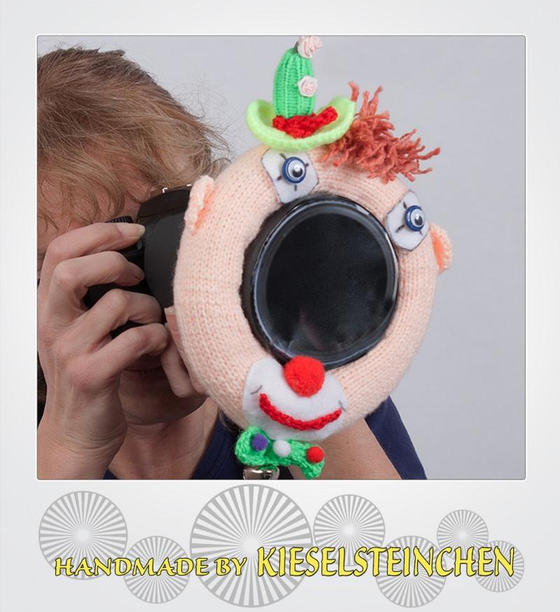 """Kleinesbild - Fotografenhelfer/Objektivablenker  """"Clown """" Objektivgröße 98 mm"""