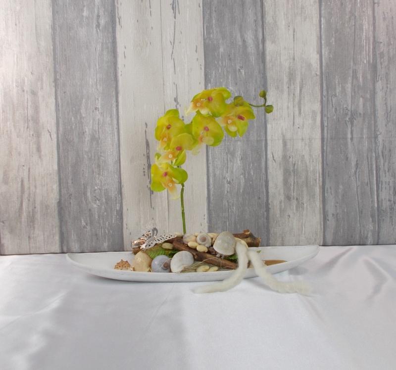 - Tischgesteck, Orchidee gelb, Gesteck, Wohndekoration - Tischgesteck, Orchidee gelb, Gesteck, Wohndekoration