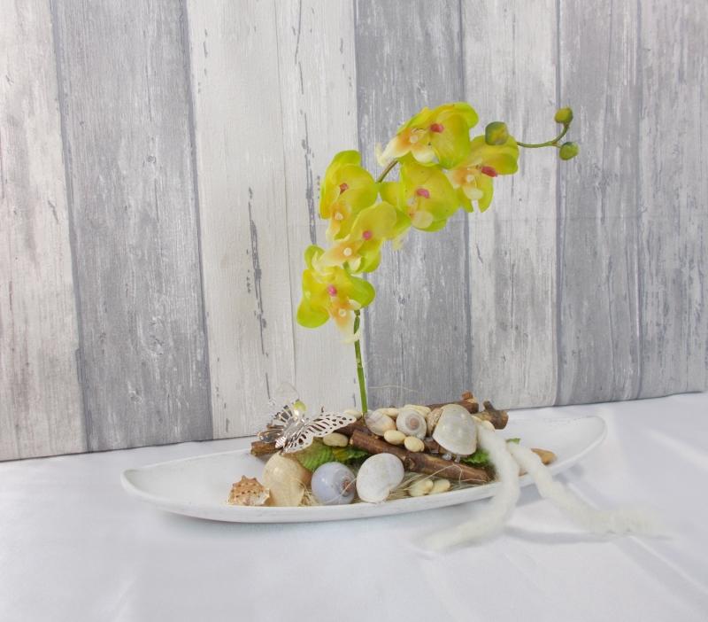 Kleinesbild - Tischgesteck, Orchidee gelb, Gesteck, Wohndekoration