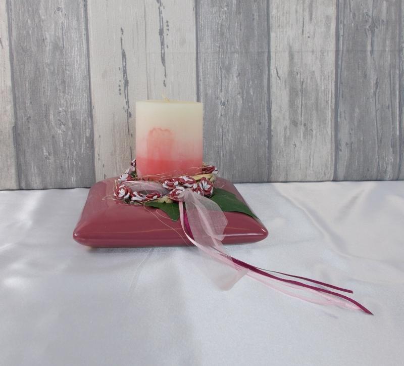 Kleinesbild - Tischgesteck, Kerze, Gesteck, altrosa
