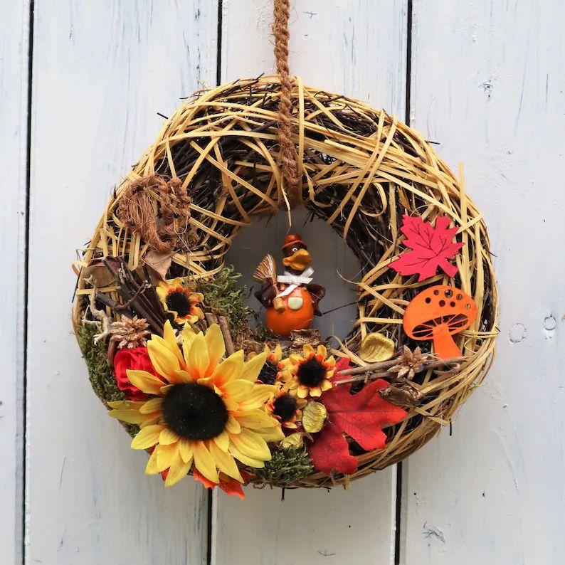 - Türkranz Herbst, Herbstkranz, Kranz Herbst, braun, orange - Türkranz Herbst, Herbstkranz, Kranz Herbst, braun, orange