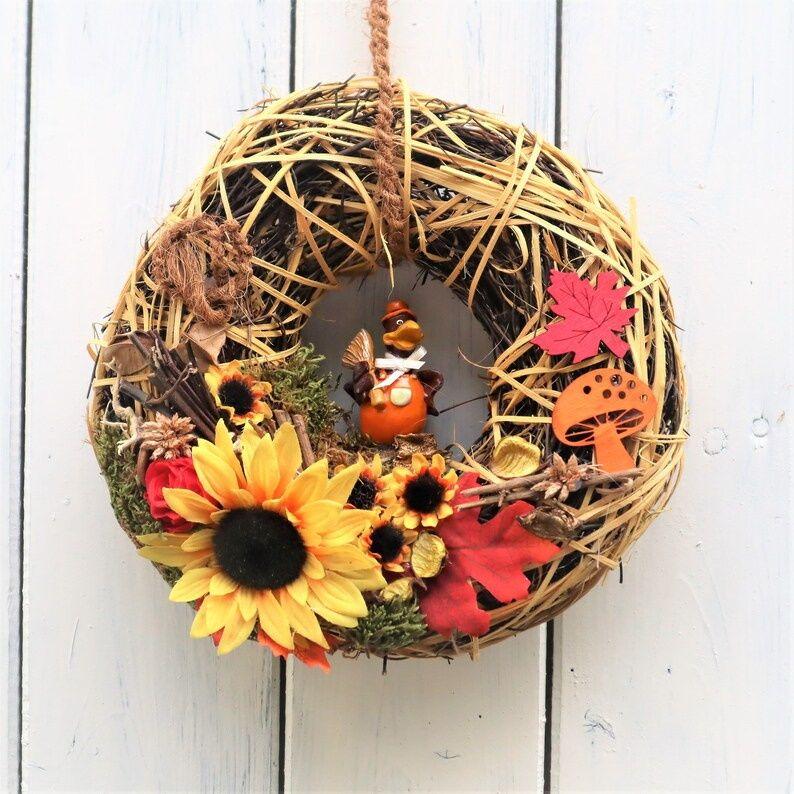 Kleinesbild - Türkranz Herbst, Herbstkranz, Kranz Herbst, braun, orange