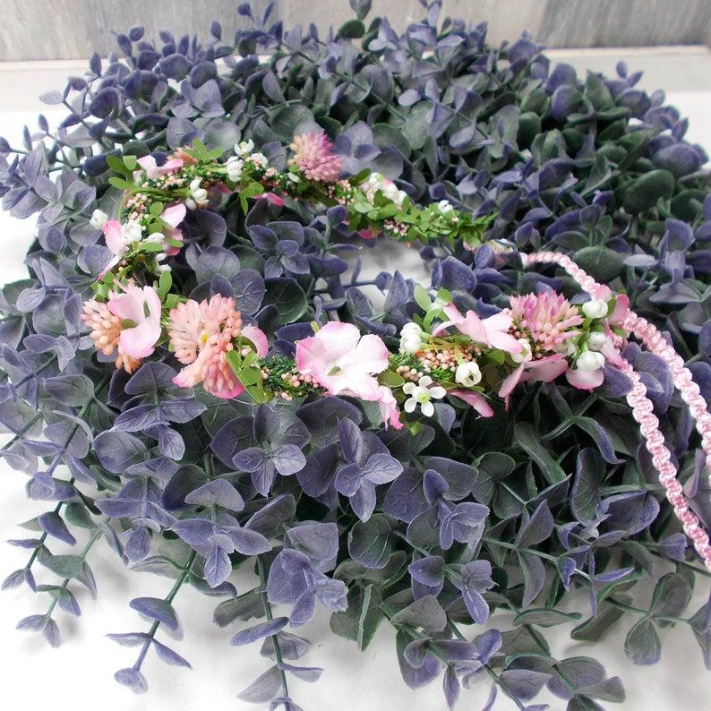 Kleinesbild - Haarschmuck, Blumenkränzchen, Kommunion, rosa Kopfschmuck, Kranz für ´s Haar