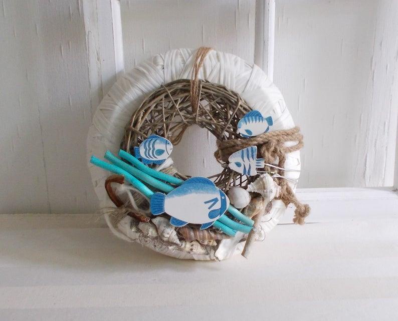 Kleinesbild - maritimer Türkranz, blau weiß, Kranz, Sommerdeko