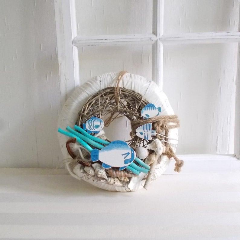 - maritimer Türkranz, blau weiß, Kranz, Sommerdeko - maritimer Türkranz, blau weiß, Kranz, Sommerdeko