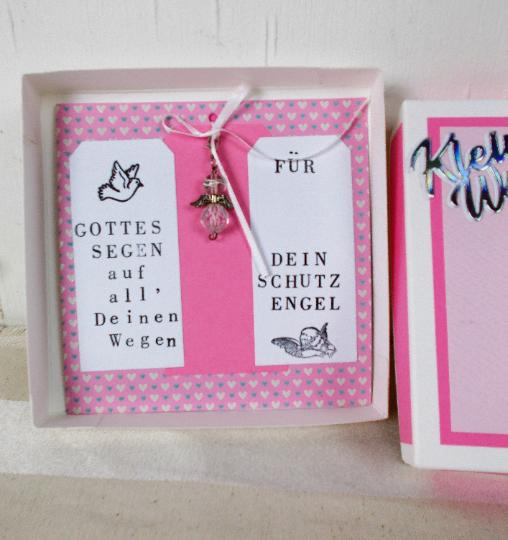 Kleinesbild - Geldgeschenk Geburt, Taufe, mit Schutzengel, personalisierbar, Mädchen rosa, Geschenk zur Geburt