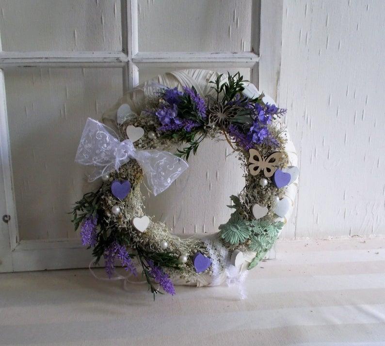 Kleinesbild - Türkranz weiß, Lavendel, Kranz, ganzjährig, Landhaus