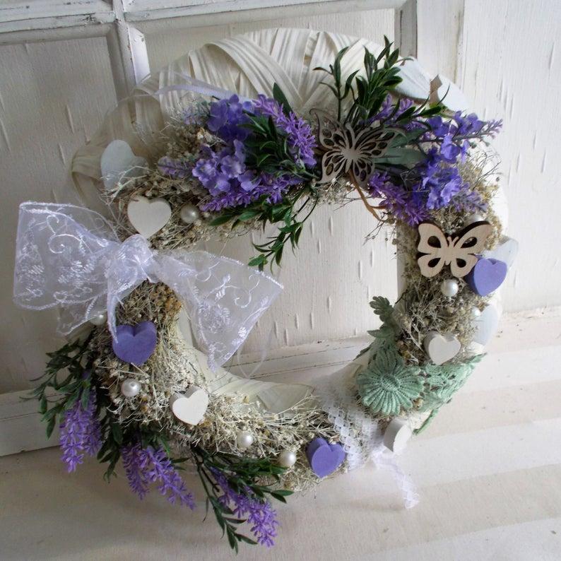 - Türkranz weiß, Lavendel, Kranz, ganzjährig, Landhaus - Türkranz weiß, Lavendel, Kranz, ganzjährig, Landhaus