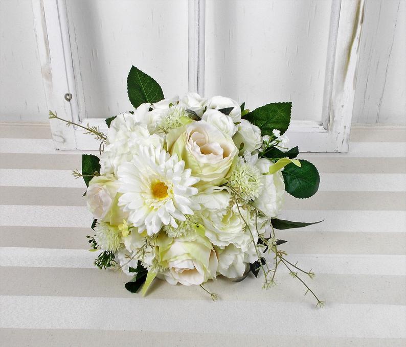 - Brautstrauß künstlich, weiß grün, Rosen und Gerbera, Brautbouquet - Brautstrauß künstlich, weiß grün, Rosen und Gerbera, Brautbouquet