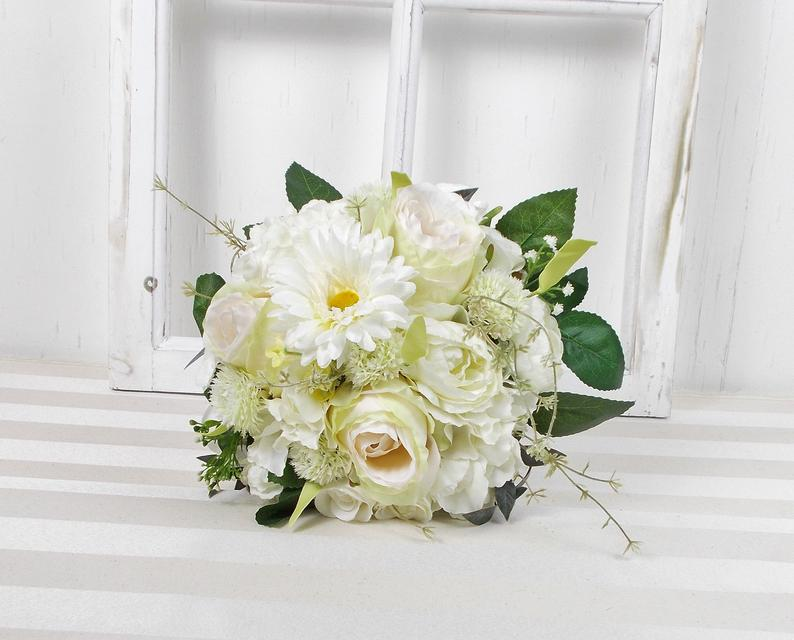 Kleinesbild - Brautstrauß künstlich, weiß grün, Rosen und Gerbera, Brautbouquet