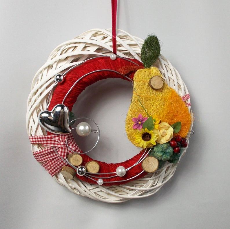 - Türkranz, Herbstdeko, mit Birne, Herbstkranz - Türkranz, Herbstdeko, mit Birne, Herbstkranz