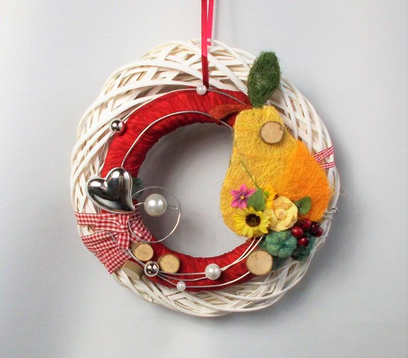 Kleinesbild - Türkranz, Herbstdeko, mit Birne, Herbstkranz